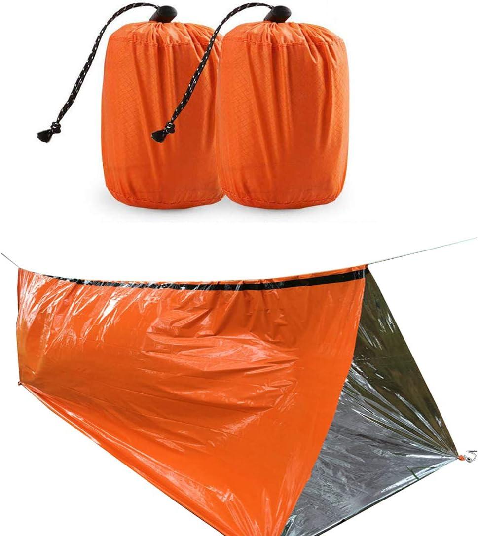 2-Pack Reusable Emergency Sleeping Bag Thermal Waterproof Survival Camping Bags