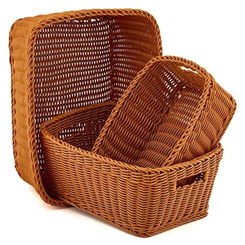 - EZOWare Set of 3 Plastic Waterproof Storage Wicker Baskets Bins Boxes Organizer with Handle - Brown