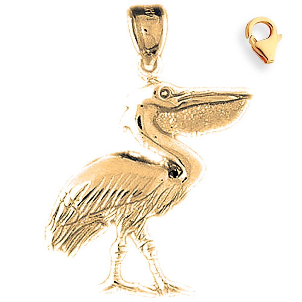Silver Yellow Plated Pelican Charm 30mm