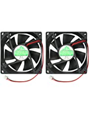 2-Pack 80mm by 80mm by 25mm 8025 12V DC 0.20A Ball Bearing Brushless Cooling Fan 2pin AV-F8025MB UL CE