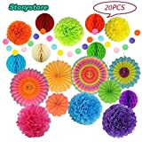 Mexican Fiesta Party Decorations, Paper Fans, Pom Poms, Lantern and Rainbow Party Supplies for Birthdays, Cinco De Mayo, Festivals, Carnivals, Graduation by Storystore (20 PCS)