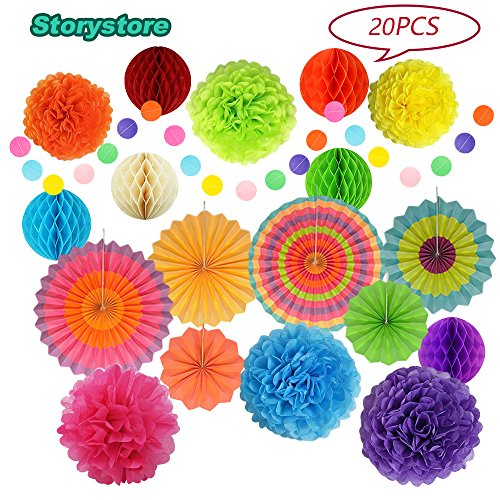 Mexican Fiesta Party Decorations, Paper Fans, Pom Poms, Lantern and Rainbow Party Supplies for Birthdays, Cinco De Mayo, Festivals, Carnivals, Graduation by Storystore (20 PCS) by Storystore