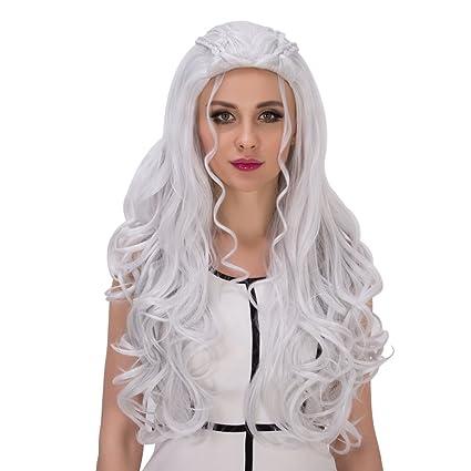 Amback largo rizado trenzado estilo Cosplay peluca de plata para el Daenerys Targaryen Khaleesi