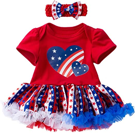 Fourth of July Outfit Clothes Newborn Baby Girl American Flag Romper 2Pcs Outfit