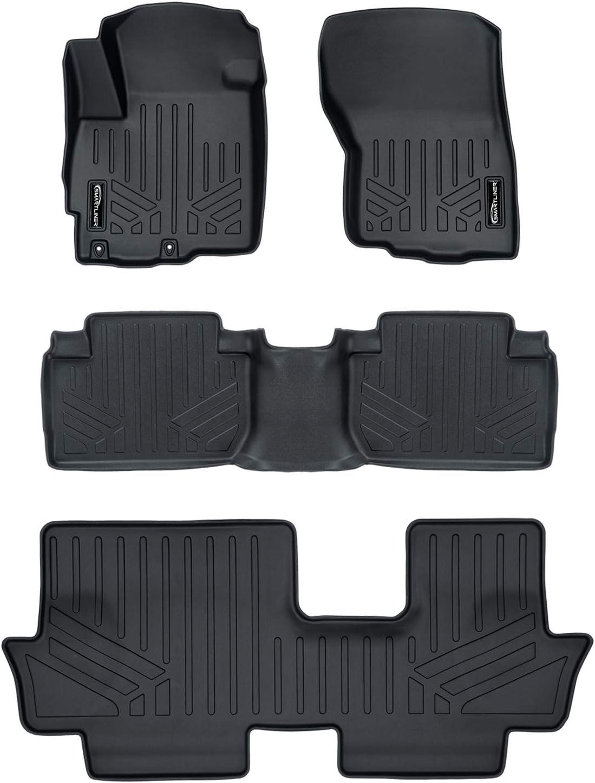 SMARTLINER Custom Fit Floor Mats 3 Row Liner Set Black for 2011-2019 Mitsubishi Outlander (No Outlander Sport Models)