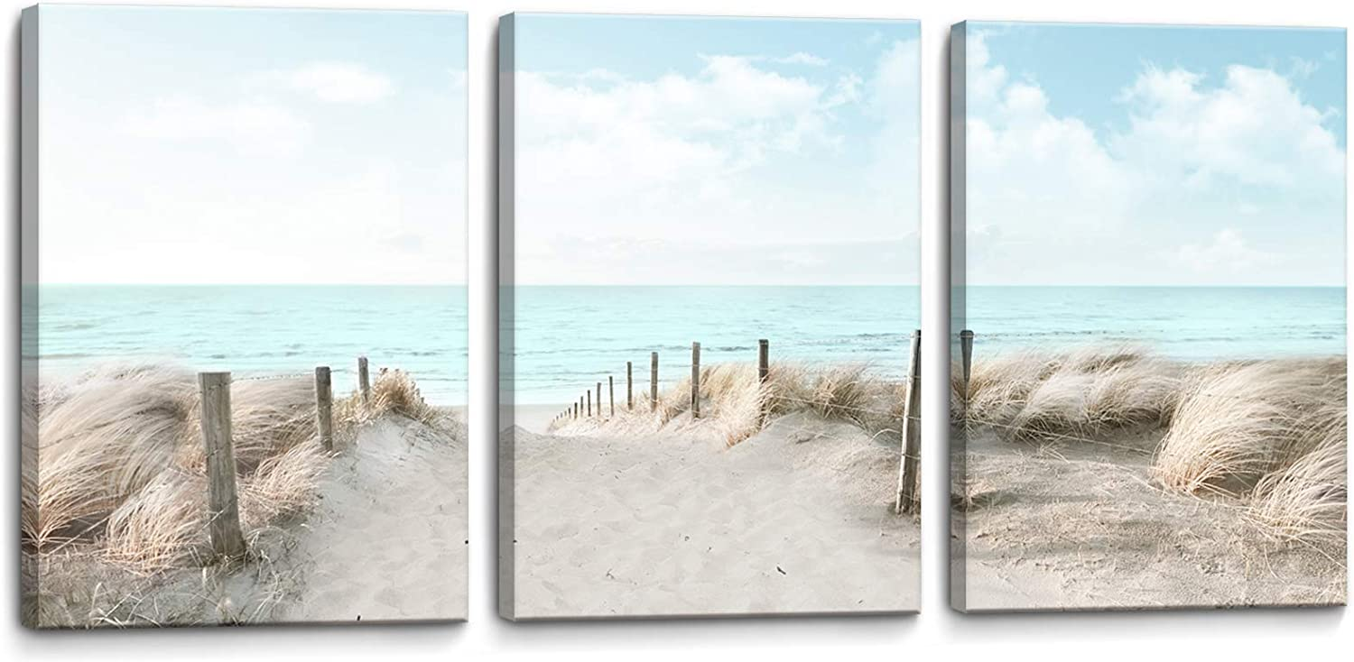 3 Piece Bathroom Decor Wall Art Beach Blue Sea Blue Sky Print Picture Framed Wall Decor for Bedroom Living Room Modern Home Decor Artwork Coastal Wall Decorations Size 12x16x3 inches Ready to Hang