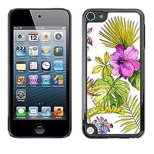 For Apple iPod Touch 5 Case , Wallpaper Watercolor Fern Spring - Diseño Patrón Teléfono Caso Cubierta Case Bumper Duro Protección Case Cover Funda
