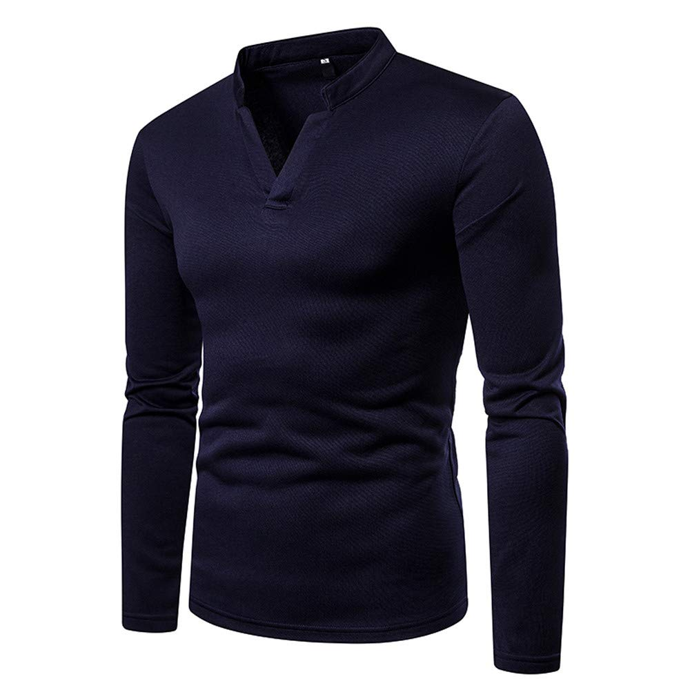 T-Shirt Hommes Manadlian Sweat Homme /à Manches Longues Couleur Unie Pull Homme Automne Hiver V-Neck Sweater Slim Fit Chemise