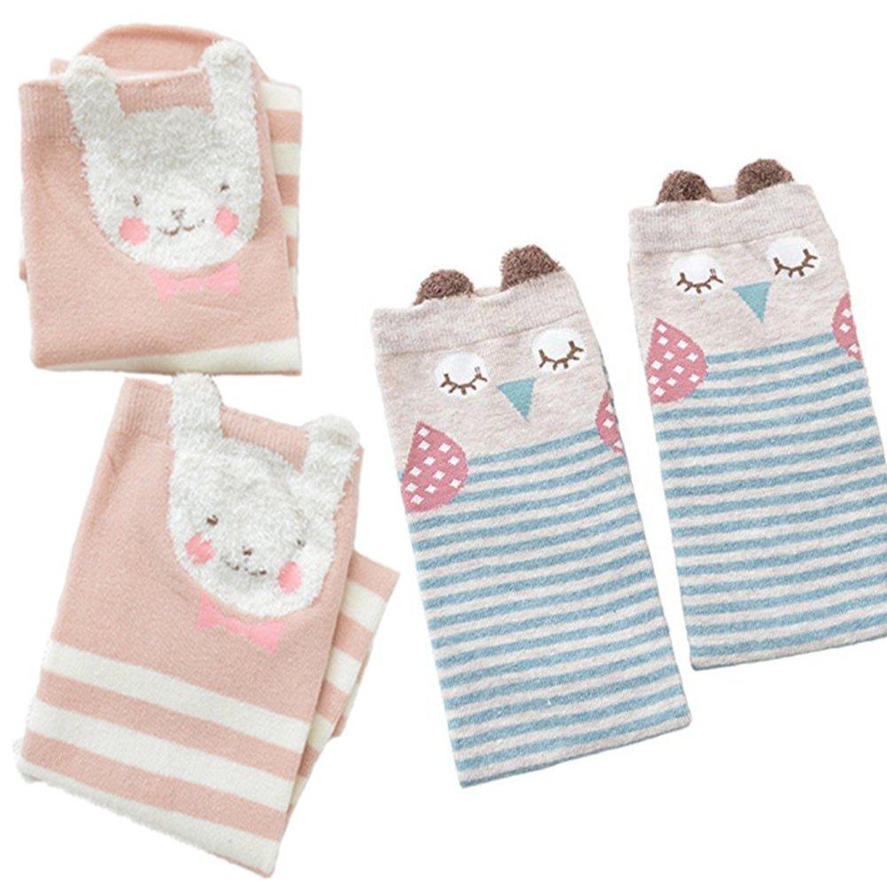 2 Sets Owl Knee High Cotton Socks for Girls Heat Retainer Winter Thermal Socks, Boot Socks (M)