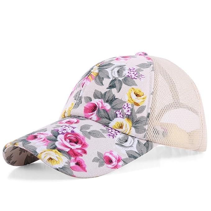 Dasior Women s Adjustable Print Floral Baseball Hat Caps Sun Hat Beige Long a183045d0a4