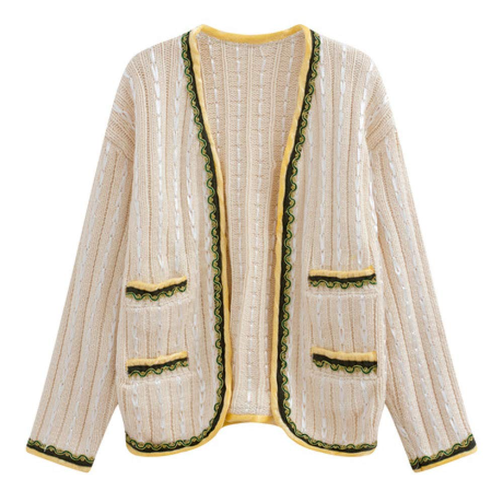 QINJLI Knit Cardigan, Spring and Autumn Handmade Thick Needle Knitting Gold Silk Ribbon Sweater Loose Jacket Wome