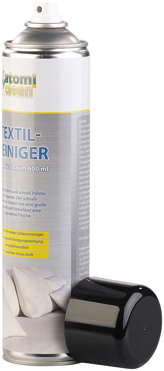 AtomiClean Polsterreiniger: Textilreiniger mit Aktivschaum, Zitrus-Duft, 600 ml (Teppich-Reiniger)