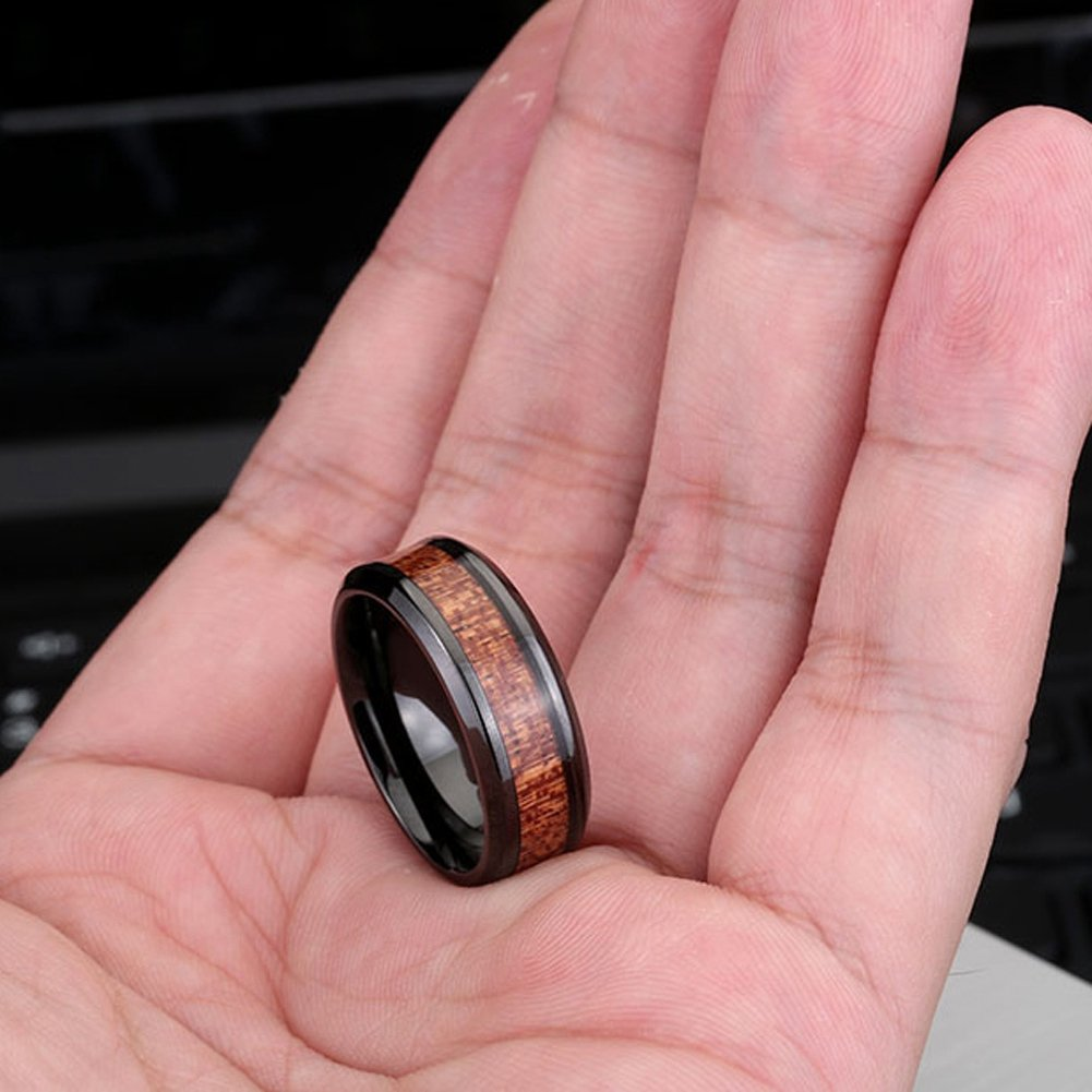 Men\'s Wedding Bands 8mm Black Tungsten Carbide Engagement Promise ...