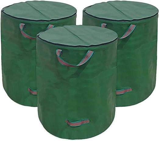 Huainiu – Saco de jardín plegable con tapa y cierre de cremallera resistente al agua 272L para residuos de jardín: Amazon.es: Jardín
