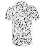 TOPORUS Men's Casual Short Sleeve Printing Pattern Button Down Shirts, B-White, Large