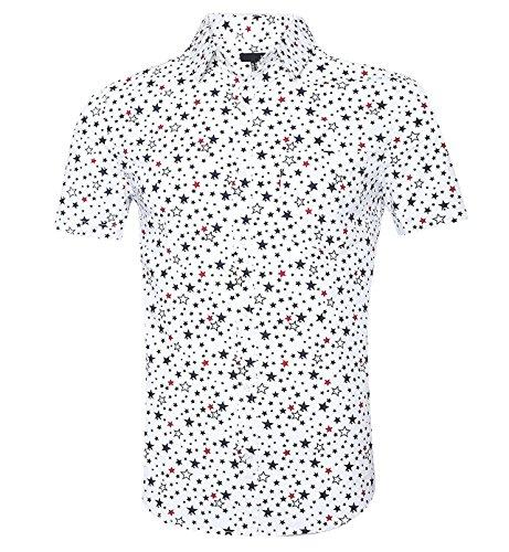 Men's Casual Short Sleeve Printing Pattern Button Down Shirts (B-white/Patriotic Stars 3XL)