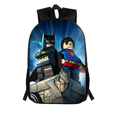 2fd4ae730f YOURNELO Kid s Cartoon Batman Superman Color Printed Rucksack School  Backpack Bookbag For Boys Girls(A