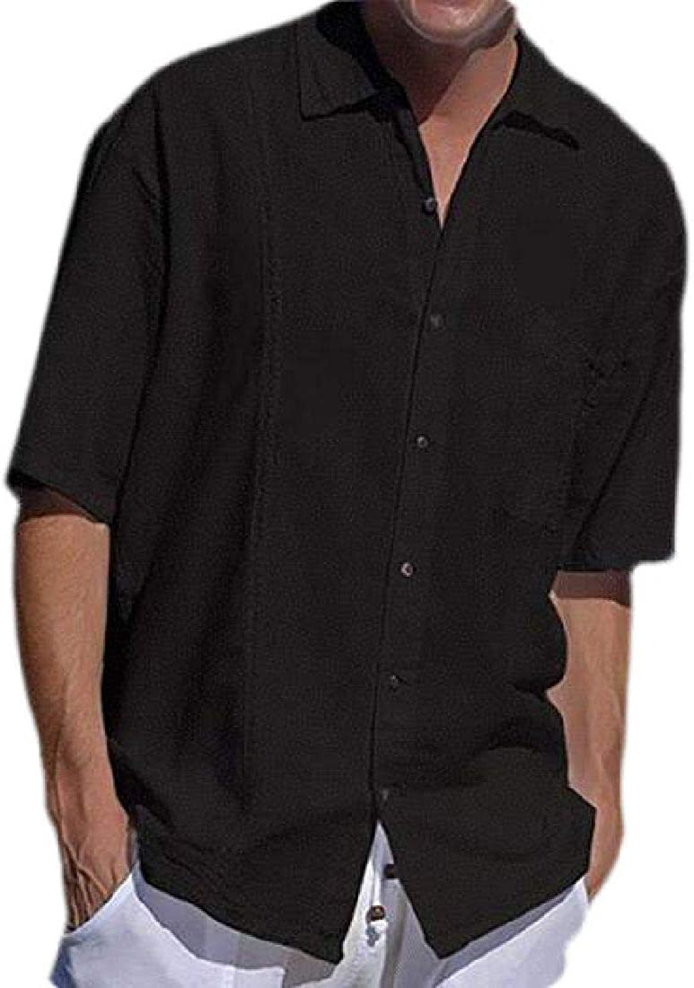 Rrive Mens Casual Button Down Slim Fit Solid Short Sleeve Shirts