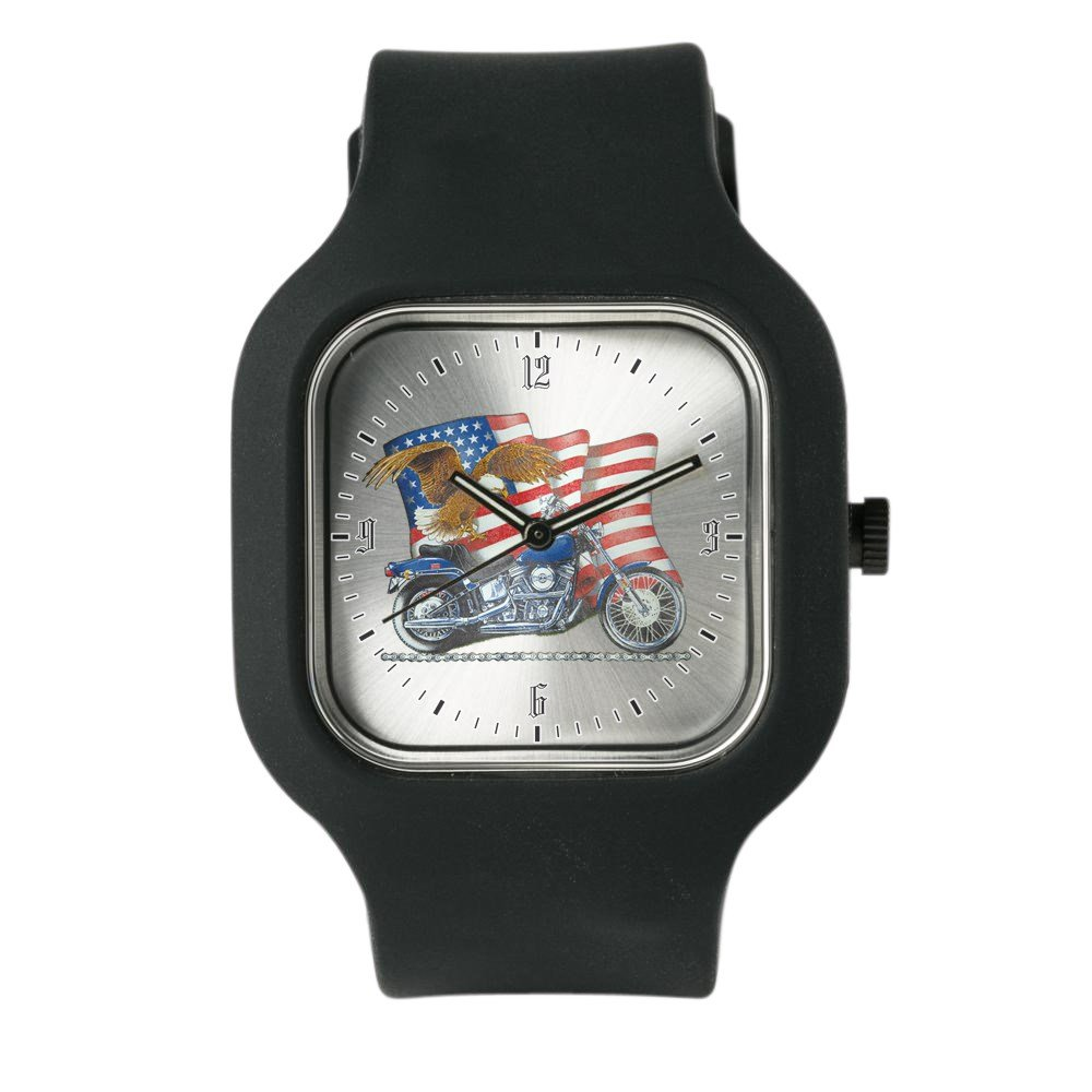 Black Fashion Sport Watch Motorcycle Eagle and US Flag