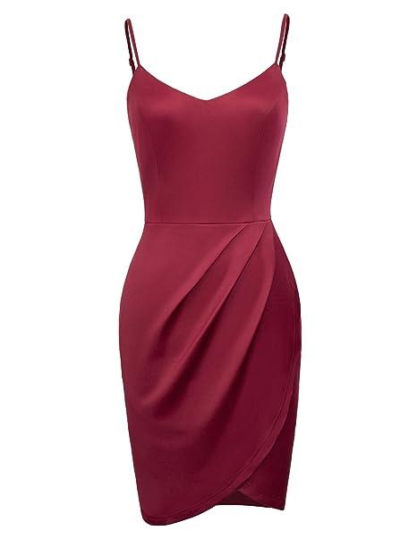 282656d3cd Women Lightweight Clubwear A-Line Bodycon Dress with Sleeveless M Wine Red