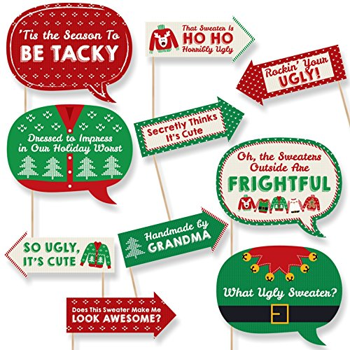 Big Dot of Happiness Funny Ugly Sweater Holiday  Christmas Party Photo Booth Props Kit  10 Piece