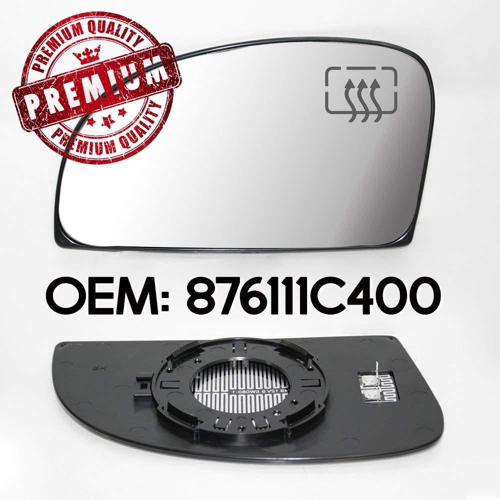 Miroir de r/étroviseur gauche et base chauffante compatible avec Getz OEM 876111C400