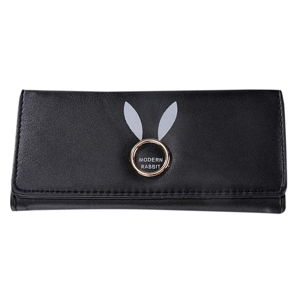 Women's Fashion Printing Tassel Zipper Wallet Credit Card Wallet Slim Card Holders Wristlet Wrist strap Long Purse (Black)