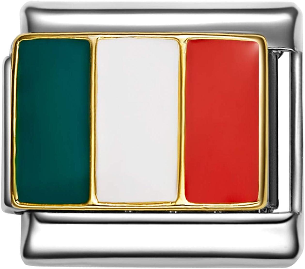 Italy Flag Italian Charm Link Charms Bracelet
