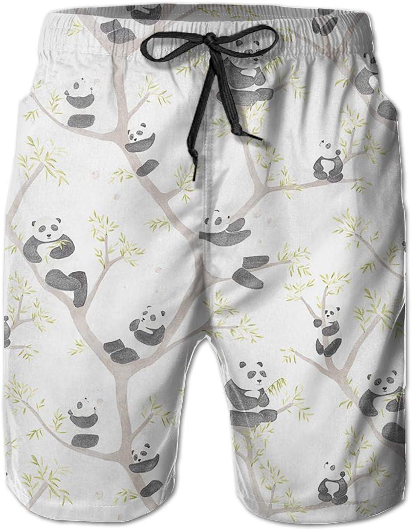 Mens Panda On The Tree Shorts Pockets Swim Trunks Beach Shorts,Boardshort