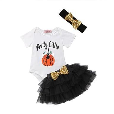 5ea05e083d73 Baby Girls Flower Headband+Cotton Romper Playsuit +Bow Tutu Prom Skirt  Outfit Set 1st
