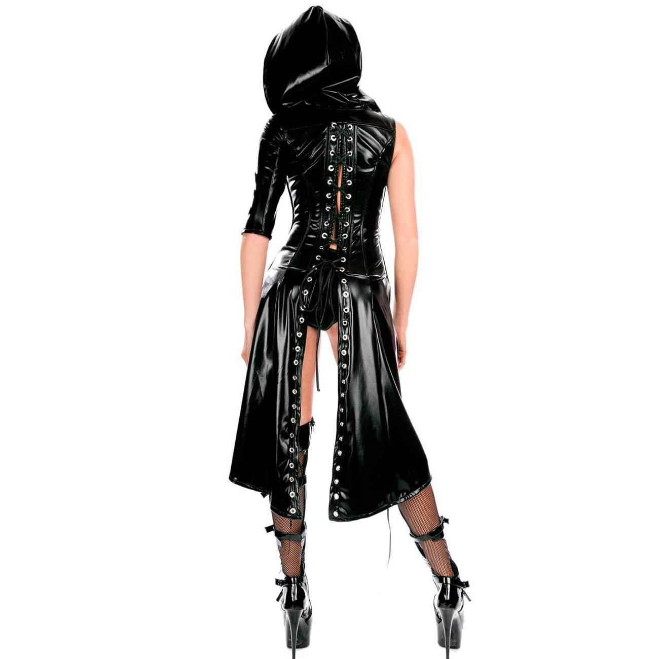Wonder Pretty Women's Faux Leather Cape Cloak Costume Punk Gothic Dress Lace up Catsuit Hooded Cape Jumpsuit, Black, Medium by Wonder Pretty (Image #2)
