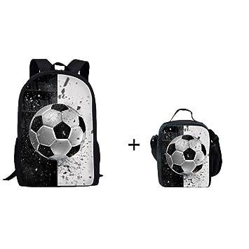 b629fe759c9 Amazon.com   Coloranimal Cool 3D Soccer Ball Printed School Bag+Lunch Bag  for Kids Child   Kids  Backpacks