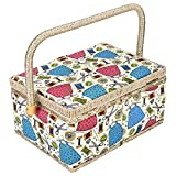 Fabric Covered Sewing Basket,3 Colors Handmade Wood Storage Basket Fabric Crafts Sewing Kit Storage Box with Handle and Removable Tray for Sewing Accessories(3)