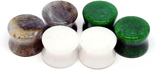 Pair Tiger Eye Stone Plugs 24mm 15//16