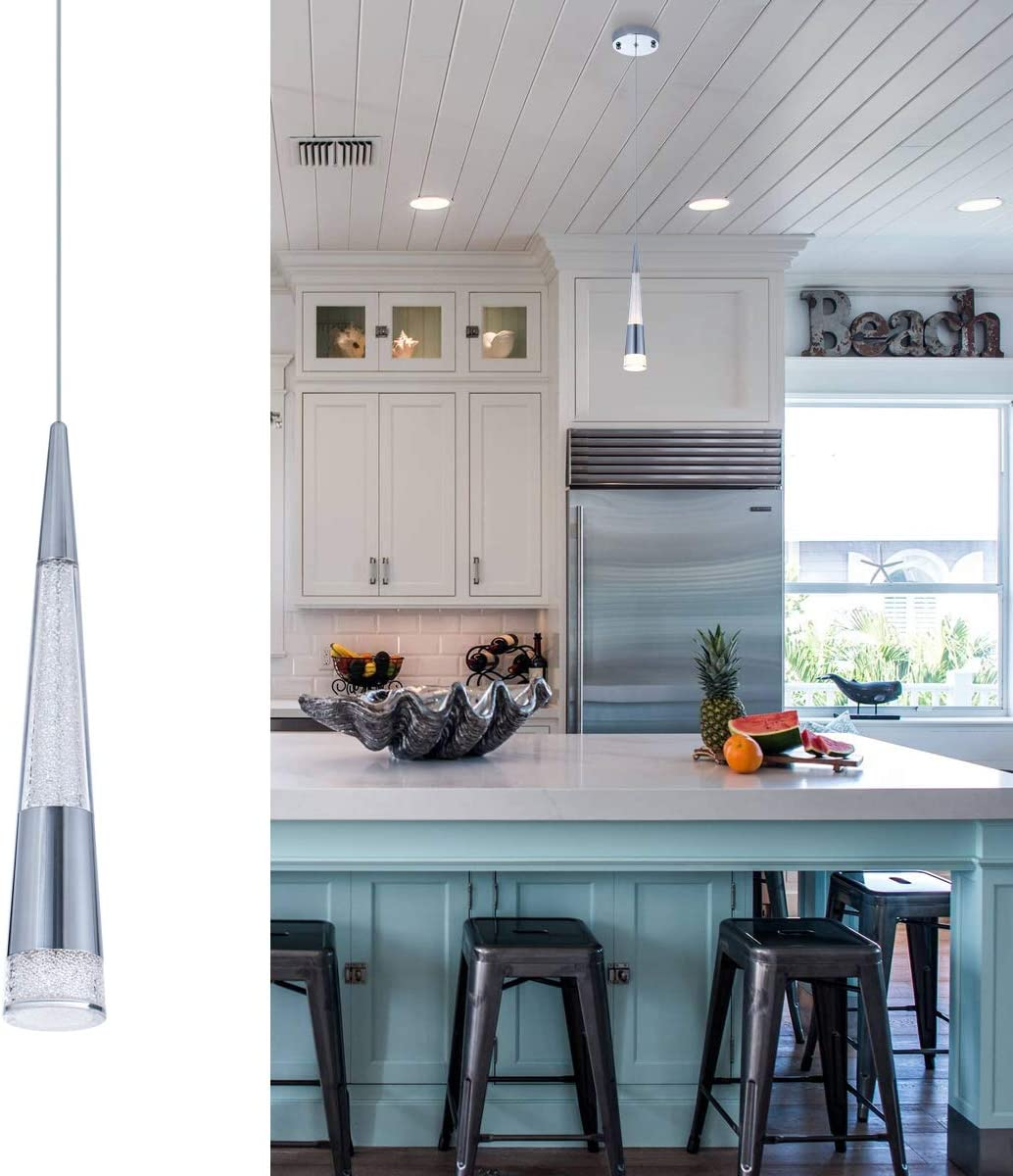 VILUXY Modern Kitchen Island Pendant Lighting, Adjustable LED Cone Pendant Light with Silver Plating Nickel Finish Acrylic Shade for Dining Rooms 7W, Warm White 3000K