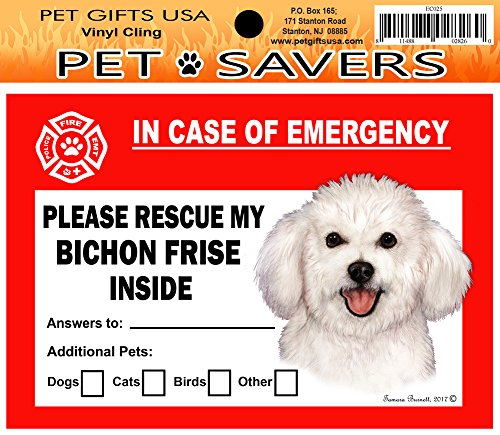 - In Case of Emergency Home Window Pet Savers Rescue Cling Sticker, Bichon Frise