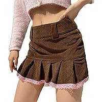 Woxlica Y2K Skirt for Girls Bandage Tie Up Ruffle Mini Skirt