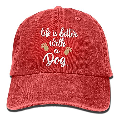 Hopekiny Life is Better with A Dog-1 Vintage Jeans Baseball Cap for Men and Women -