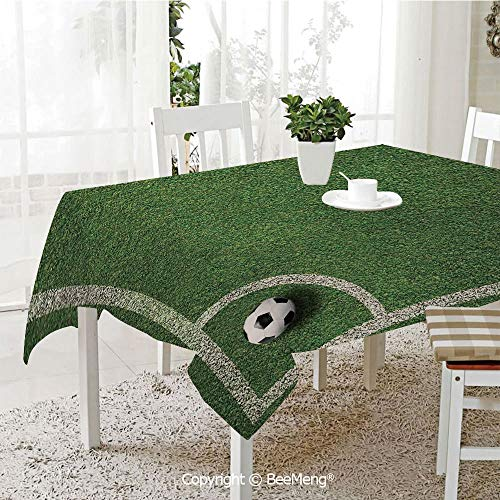 (BeeMeng Spring and Easter Dinner Tablecloth,Kitchen Table Decoration,Sports Decor,Soccer Ball in Corner Kick Position Football Field top View Grass Lawn Terrain,59 x 83)