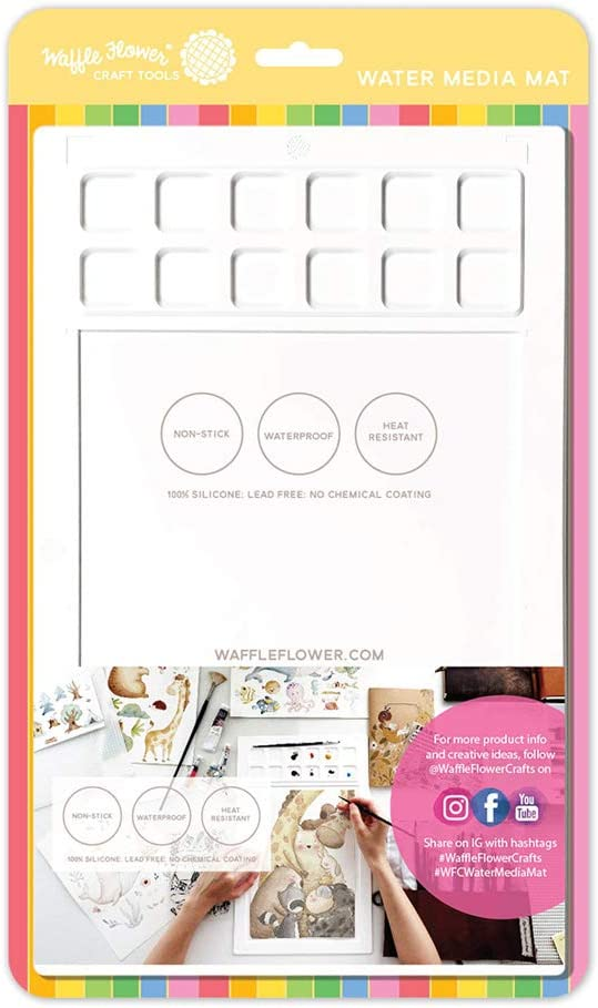 Waffle Flower Water Media Mat is a Multi Function Craft mat That is Non-Stick, Waterproof and Heat-Resistant with 12 Handy Palette Squares to Create and Mix Your own Colors