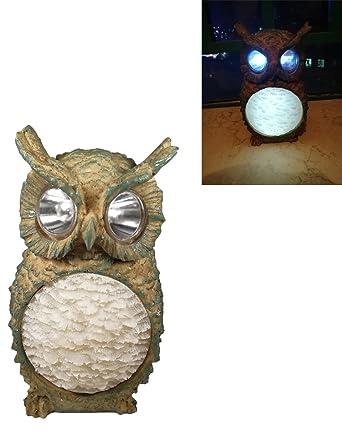 Luwint LED Solar Outdoor Garden Lights   Wireless Waterproof Polyresin Owl  Night Light For Yard Home