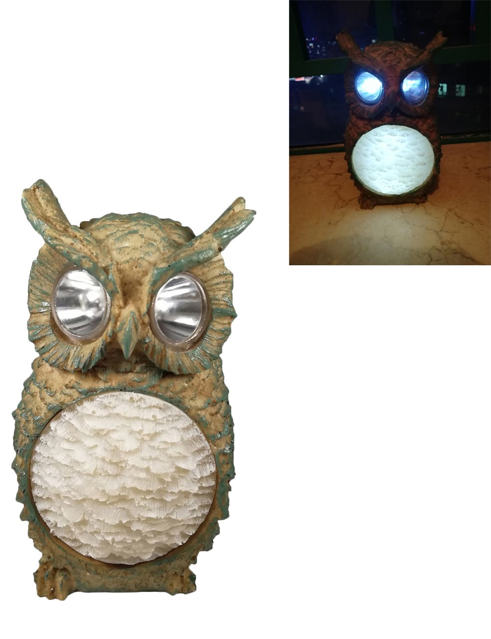 Luwint LED Solar Outdoor Garden Lights - Wireless Waterproof Polyresin Owl Night Light for Yard Home Decor (Upgraded Green)