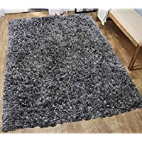 Hand Made Hand Woven Lurex Fluffy Modern Thick Plush Soft Pile Living Room Bedroom Floor Shag Rug Throw Carpet Titanium Copper Gray Grey Metallic Patterned 8x10 Area Rug Large ( Treasure Titanium )