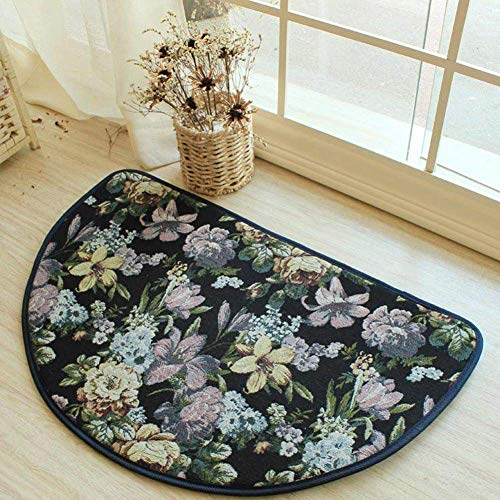 WJSWM Beautiful Floral Entrance Floor Mat,Soft Blue Lilies Pastoral Style Rug Anti-Skid Semicircle Doormat 31.5 Inch,Lilies,Semicircle31.5Inch