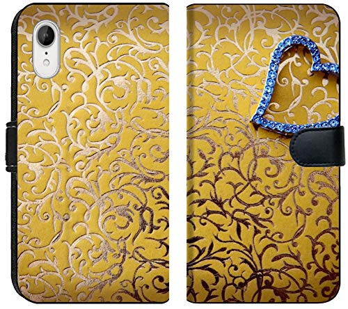 Luxlady iPhone XR Flip Fabric Wallet Case Decorative Golden Background with Heart Shaped Pendant Jewelry Image ID (Best Luxlady Jewelry Boxes)