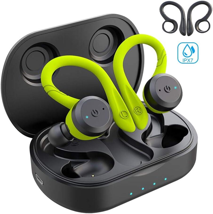 Sport in-Ear TWS Headphones APEKX True Wireless Bluetooth 5.0 Sports Earbuds, IPX7 Waterproof Stereo Sound, Built-in Mic Earphones,Supporting Wireless Charging(Black)