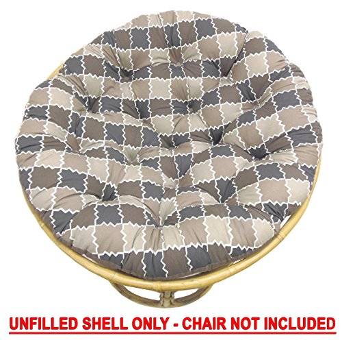 Cotton Craft Papasan Chair Cushion (unfilled shell only) - Moroccan Mosaic Tile Chocolate Natural, 100% Cotton duck fabric, Fits Standard 45 IN round Chair - Do it yourselfers - Fill at home and save