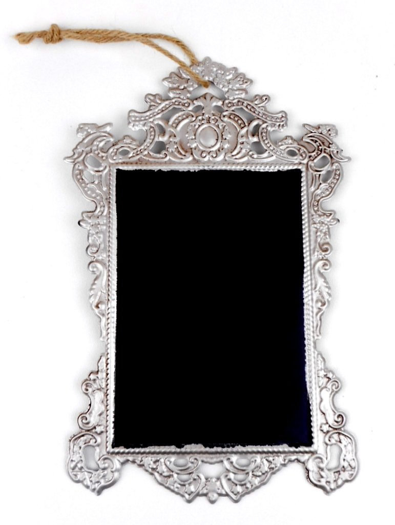 Ornate Style Silver Pierced Metal Distressed Framed Magnetic Chalkboard with Rope Hanger