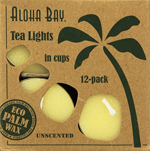 Aloha Bay Palm Wax Tea Lights with Aluminum Holder Cream Candles, 12 Count
