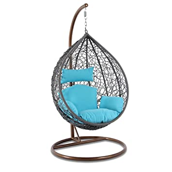 upgraded hanging swing egg chair grey wicker rattan outdoor